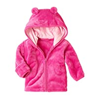 HOMEBABY Baby Infant Boys Girls Rabbit Hooded Coat Zipper Jacket Autumn Winter Thick Cardigan Warm Cloak Clothes Hoodie Tops Casual Parka Casual Outwear Gift Hot Pink