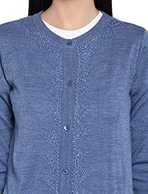 Monte Carlo Blue Solid Wool Blend Round Neck Cardigan