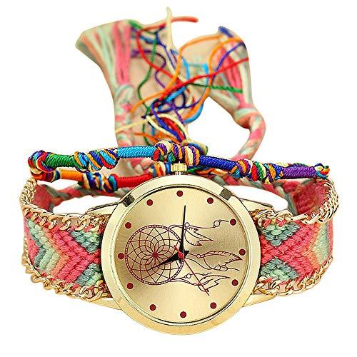 Kostüm Band Verwandte - Jia Meng Van Native Handmade Damen Vintage Quarzuhr Dreamcatcher Freundschaftsuhren Dreamcatcher Armbanduhr zu weben