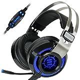 ENHANCE Scoria Gaming Headset für Computer & PS4 mit USB 7.1 Surround-Sound, interaktiver Bass-Vibration, einstellbarer LED-Beleuchtung, Inline-Steuerung und Mikrofon - TeamSpeak-zertifiziert