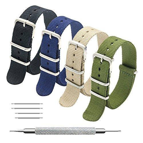 MEGALITH Cinturino Orologio 4 Pacchetti 18mm 20mm 22mm Balistico Cinturino Nato Cinturino in Nylon (24mm, Black+Khaki+Army Green+Navy Blue)