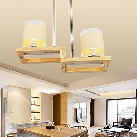 Silencio @ lámpara de techo Loft troncos personalidad creativa nórdico iluminación de lámparas lámpara colgante de cúpula de estudio luz de madera pequeñas lámparas de araña de madera, 500mm * 200mm 110V-120V