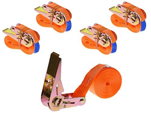 Preisvergleich Produktbild 4 Stück 400kg 4m Spanngurte mit Ratsche 1 teilig einteilig Zurrgurte Ratschengurte 25mm orange 400 daN 0, 4t