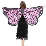 KPILP Frauen Weichen Stoff Schmetterlingsflügel Schal Fee Damen Cosplay Partei Prom Wear Nymph Pixie Kostüm Zubehör(Hot pink