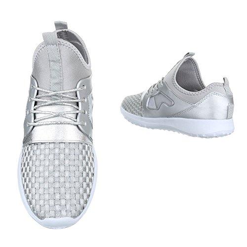 Sportschuhe Damenschuhe Geschlossen Schnürer Schnürsenkel Ital-Design Freizeitschuhe Silber