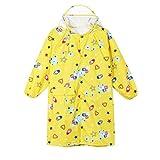 QinMM Kinder Regenmantel, Jungen und Mädchen Cartoon Gedruckt Kinder Wasserdichte Mantel Regnerischen Tag Tragen Hohe Qualität Gelb Blau Rosa 24M-14T (8T, Gelb)