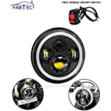 Fabtec 7 Inch 4 LED Full Day-Time Running Light Ring Headlight with On-Off Switch for Royal Enfield Bikes