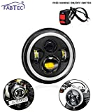 #10: Fabtec 7 Inch 4 LED Full Day-Time Running Light Ring Headlight with On-Off Switch for Royal Enfield Bikes