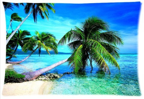 Outlet-Seller Custom Zipper Palm Tree on the Blue Beach Pillowcase Covers Standard Size 20