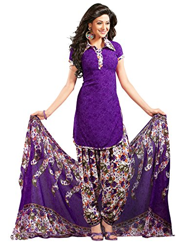 Drapes Women's Crepe Printed Dress material Unstitiched(Purple)