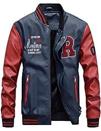 Vogstyle Hommes Vest Casuel Cuir PU Teddy Baseball Blouson avec Doublure Jackets
