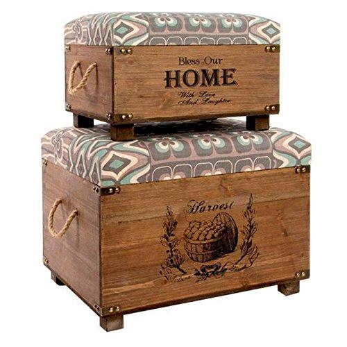 Indhouse - Set de 2 baúles vintage de estilo industrial en madera y poliéster