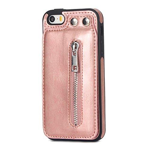 MoreChioce kompatibel mit iPhone SE Hülle,kompatibel mit iPhone 5S Hülle,kompatibel mit iPhone 5 Vertikal Flip Case, Vintage Multifunktion Klappbar Stand Etui Wallet Case Schutzhülle,Rose Gold,EINWEG - Vintage-rose-taste
