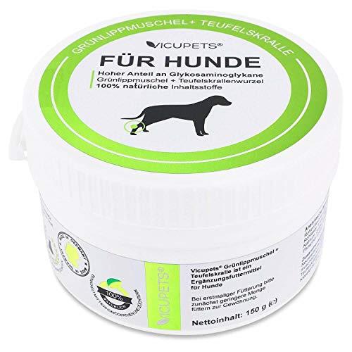 Vicupets® Grünlippmuschel & Teufelskralle 150g I 100% natürliche Inhaltsstoffe I Pulver Ergänzungsfuttermittel I Made in Germany