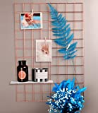 """Rumcent Multifunction Metal Mesh Grid Panel,Wall Decor/Photo Wall/Wall Art Display & Organizer,Pack of 2 Pcs,Size: 25.6"""" x 17.7"""",Rose Gold Color"""