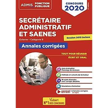 Concours SA et SAENES - Annales corrigées - Catégorie B - Externe - Concours 2020