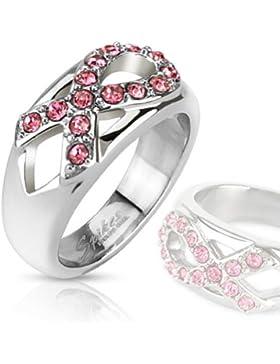 Paula & Fritz® Ring aus Edelstahl Chirurgenstahl 316L Schleife gegen Krebs besetzt mit Zirkonia pink verfügbare...
