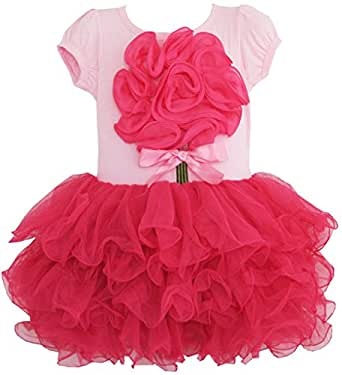 BH75 Girls Dress Tutu Tull Hot Pink Dancing Party Kids Clothes Size 7