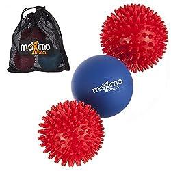 Maximo Fitness Massagebälle - 3er-Pack - Inklusive 2 Massagebällen mit Noppen und 1 Lacrosse-Ball für eine Tiefe Muskelmassage - Perfekt für Rücken, Beine, Füße & Hände.