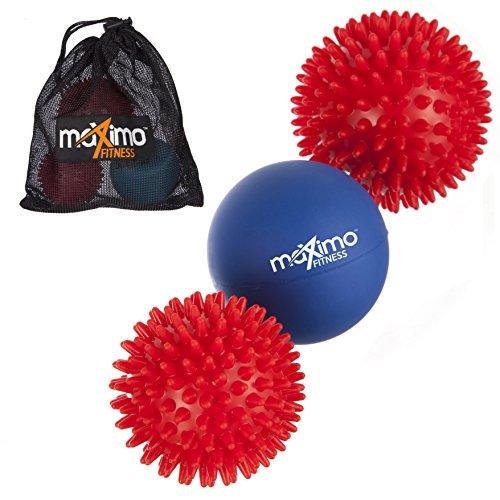 Die Hand-fuß-massage (Maximo Fitness Massagebälle - 3er-Pack - Inklusive 2 Massagebällen mit Noppen und 1 Lacrosse-Ball für eine Tiefe Muskelmassage - Perfekt für Rücken, Beine, Füße & Hände.)
