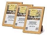 3-B Set 3 STK. - Bilderrahmen JENA - Natur - 10x15 cm - Holzrahmen, Fotorahmen, Portraitrahmen mit Plexiglas