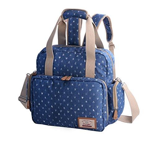 Gezu Wickel Tasche f¨¹r Mutter Baby Canvas Nappy Bag Hand Schultertasche Umh?ngetasche Multifunktionale Baumwolle Reisetasche Blau GZMM001