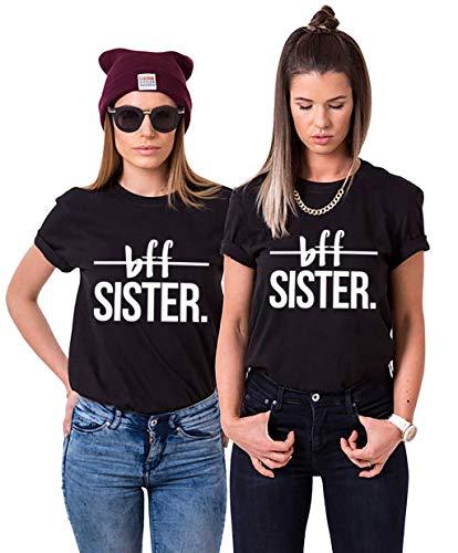 Sister Shirts BFF T-Shirt für 2 Mädchen Best Friends T-Shirts Bester Freund Tshirts Shirt mit BFF Sister Freundschafts Oberteile Damen Sommer Bluse Kurzarm 2 Stücke(Schwarz,BFF-XS+XS)