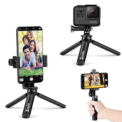 zeadio Metall Mini Bluetooth Smartphone Stativ, Action Kamera Tragbare Stativ, Desktop Tischplatte Stand Stativ für GoPro und Alle Handys (Alle Metall-kamera-stativ)