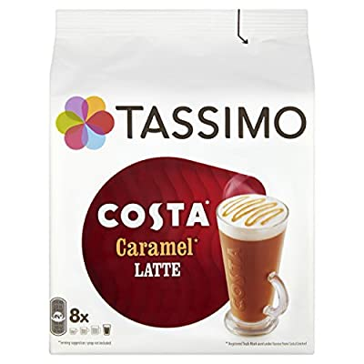 Tassimo Costa Caramel Latte Coffee Pods (Pack of 5, Total 80 pods, 40 servings) from Mondelez