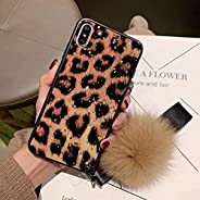 Mobile Phone Cover for Girls and Women Case for iPhone or Huawei Marble Glitter Luxury Pompom Fur Ball Rhinest