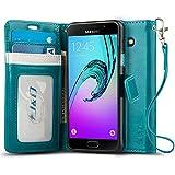Coque Galaxy A5, J&D [Stand de Portefeuille] Etui Portefeuille de Protection Antichoc avec Stand pour Samsung Galaxy A5 - Turquoise