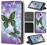 CoverFix Premium Hülle für Samsung Galaxy S7 Edge G935F Flip Cover Schutzhülle Kunstleder Flip Case Motiv (284 Schmetterling Lila Grün)