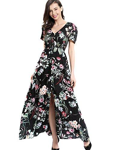 Angelady B?hmische Frauen-Knopf oben aufgeteilter Blumendruck-Kurzschluss-H¨¹lsen-Strand-Maxi-Kleid (Oben Knopf)