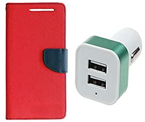 AUX MART Fancy Diary Wallet Flip Cover Case For SonyXperiaC3 Red + 2 Port Usb Car Charger For All Smartphones & Tablets