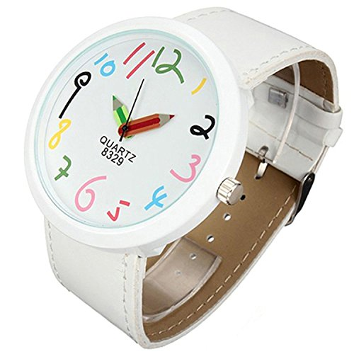 TaoNaisi Montre au poignet Crayon Femmes Grand Case Pointer Blanc