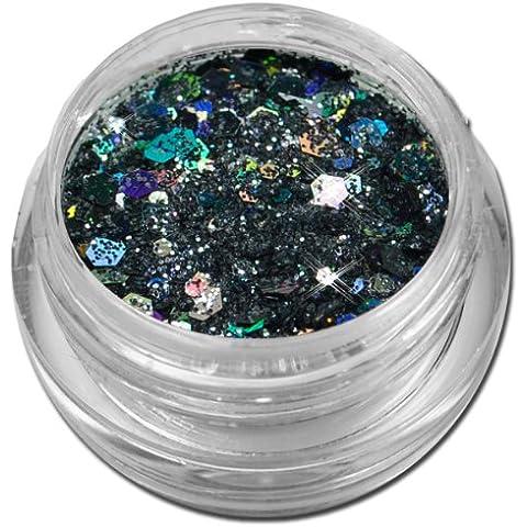Polvere glamour per nail art con glitter e paillettes, colori assortiti