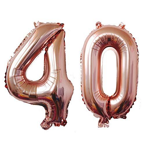 ZEEREE 40 Jahre Anzahl Luftballons, 40-Zoll-Ballon Geburtstag Höhe Geburtstagsfeier (Rose Gold)