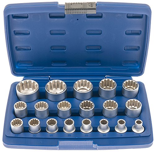 """Satz A-SUNI9 Multi Steckschlüsselsatz Universal Antrieb 12,5mm (1/2\"""") 19tlg. Multi Fit Zoll metrisch 6-kant Vielzahn 12-kant Torx"""