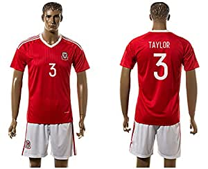 2016 UEFA Euro Cup Wales 3 Neil Taylor Home Football Jersey in Rot