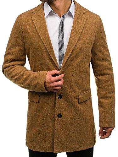 BOLF Herren Wintermantel eleganter Look Coat Mantel mit Offener Revers-Kragen J.BOYZ 1047 Camel XL [4D4] (Herren Kragen Mantel)