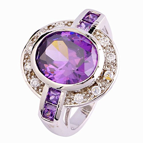 Calvin Teotore - Ring for Woman, Oval Cut, Purple Amethyst Stone, Small Lateral Stones, Purple