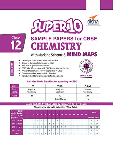 Super 10 Sample Papers for CBSE Class 12 Chemistry with Marking Scheme & MINDMAPS Image