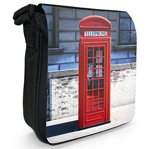 Londoner Telefonzelle Kleine Schultertasche aus schwarzem Canvas Rot