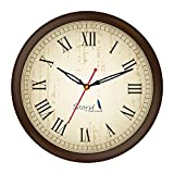 #9: Story@home 10-inch Round Shape Wall Clock with Glass for Home / Kitchen / Living Room / Bedroom (Brown Frame)