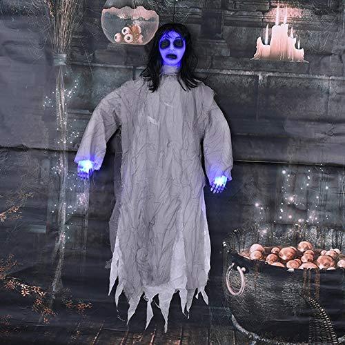 WSJDE Halloween Requisiten Bar Spukhaus Erschrecken Gestorbene Menschen Dekoration Charme Hängende Hexe Horror Stimme Big Hanging Ghost Erschreckendwie das (Rob Und Big Kostüm)