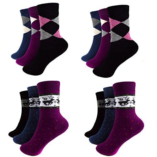 6 Paar Mädchen Thermo Socken Warme Damen Strümpfe 85% Baumwolle Gr. 35-42 A.135 + Silikon Armband (39-42, Mehrfarbig Reni)