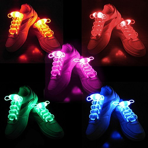 2win2buy 2win2buy 5 Pairs Waterproof Luminous LED Shoelaces Fashion Light Up Casual Sneaker Shoe Laces Disco Party Night Glowing Shoe Strings by 2win2buy