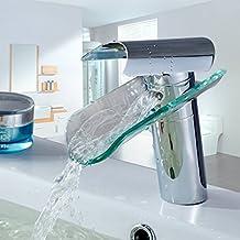 Auralum® Élégant Verre Mitigeur pour Lavabo Robinet à monocommande avec cascade pour cuisine et salle de bain Verre