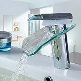 Auralum - Grifo de cristal elegante para lavabo o bañera, para cocina o baño
