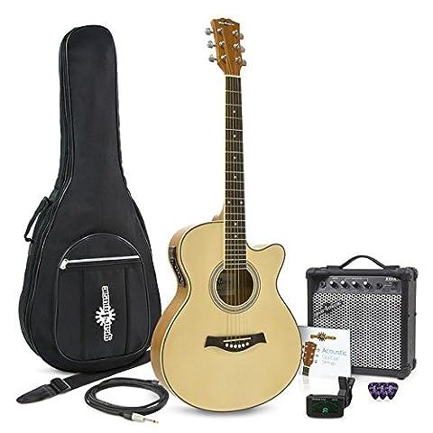 Single Cutaway Akustikgitarre + 15 Watt Verstärker im Paket (Single Cutaway Gitarre)